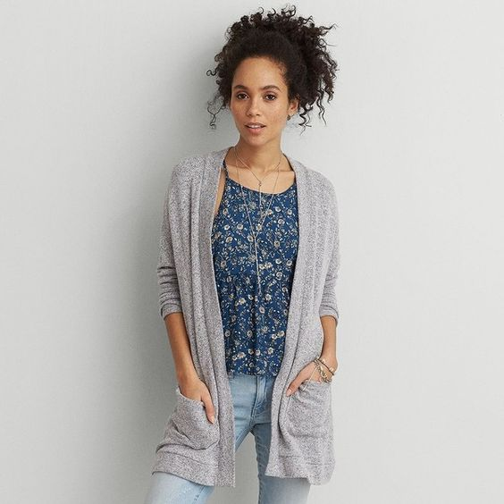 AEO Feather Light Plush Cardigan ($40) ❤ liked on Polyvore featuring tops, cardigans, light heather grey, oversized tops, cardigan top, over sized cardigan, oversized cardigan et feather top