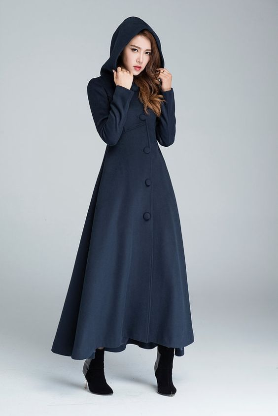 Maxi coat navy blue wool coat warm coat hooded coat winter