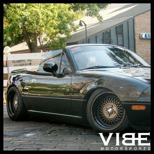 "Na Miata Garage Vary Tail Lights: 15"" Klutch Sl-1 15x8.5 4x100 Et17 Black Mesh Wheels Rims"