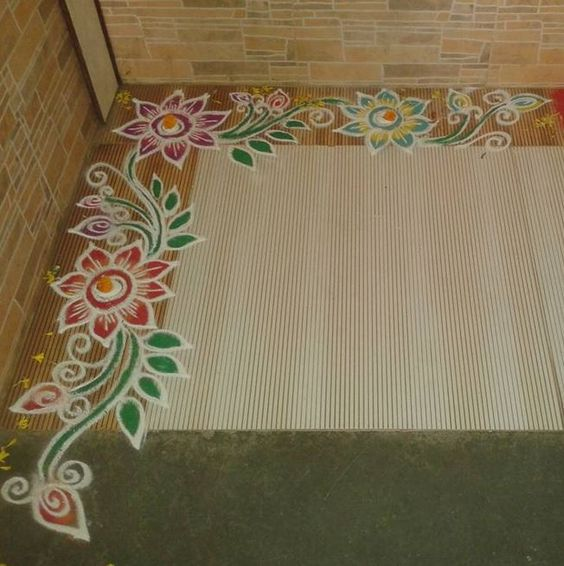 Get easy border rangoli designs for diwali decorate the for Door rangoli design images new