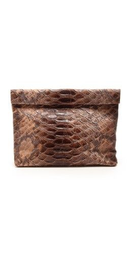 Marie Turnor Accessories The Snake Embossed Lunch Clutch | SHOPBOP