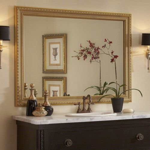 This Traditional Dark Wood Bathroom Showcases The Providence Gold Mirror Frame Atop The Wall Mount Bathroom Mirrors Diy Mirror Frame Diy Bathroom Mirror Design