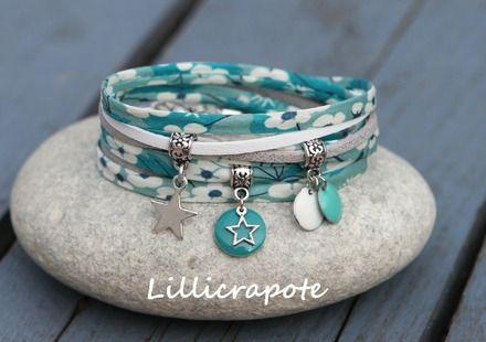 Bracelet cordon liberty mitsi et suedine 2 tours etoile blanc menthe argenté : Bracelet par lillicrapote