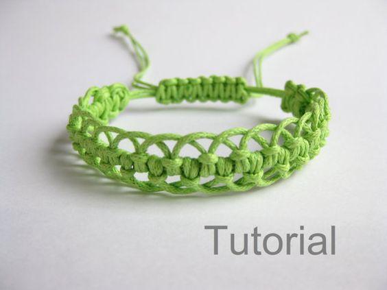 Pulsera patrón macrame pdf tutorial verde ajustable cierre joyería makrame tuto paso a paso micro diy Navidad descarga inmediata micro