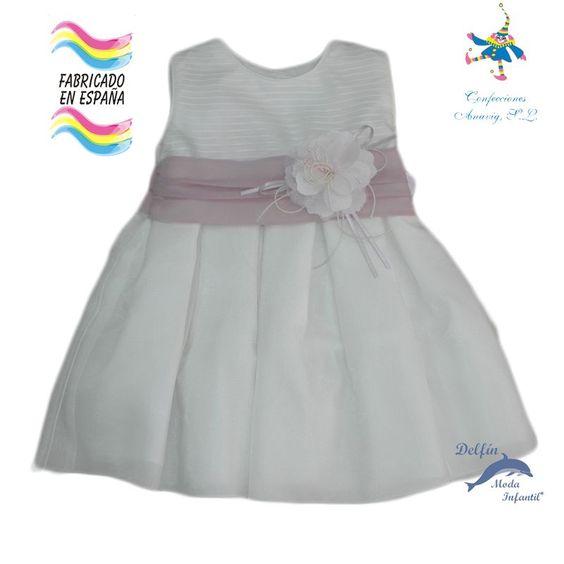 Vestido de bebe ceremonia PIZPIRETA con fajin rosado
