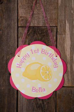 Lemonade Door Sign Birthday Party - Hot Pink & Yellow