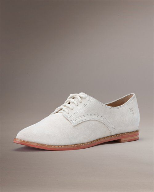Delia Oxford in white. Also in plum, tan and brown. Frye shoes.