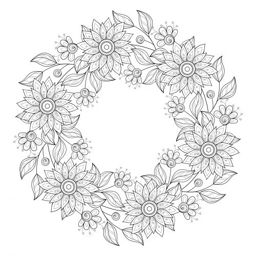 rose garland coloring pages - photo#25