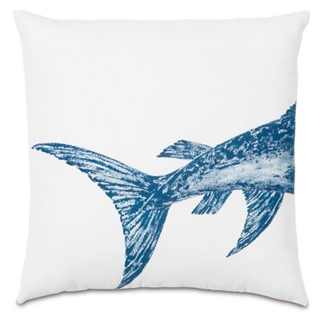 Swordfish Tail Hand-Painted Designer Pillow - Studio 773
