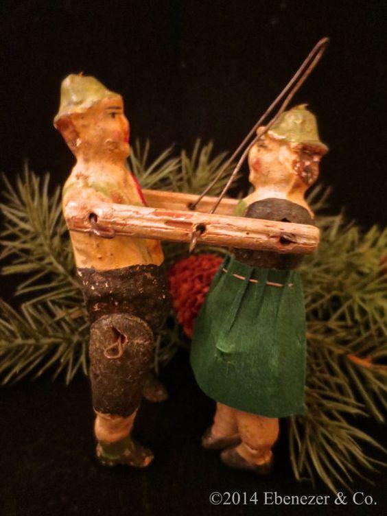 Antique German Composition Dancing Couple Christmas Ornament