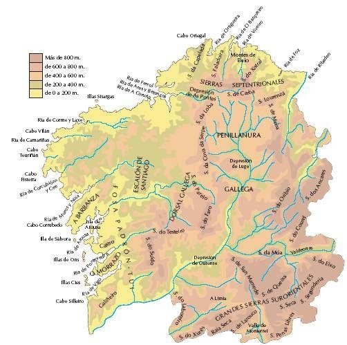 Cabo Ortegal Mapa Fisico.Mapa Fisico Galicia En 2019 Mapa Fisico Mapas Y Lobos