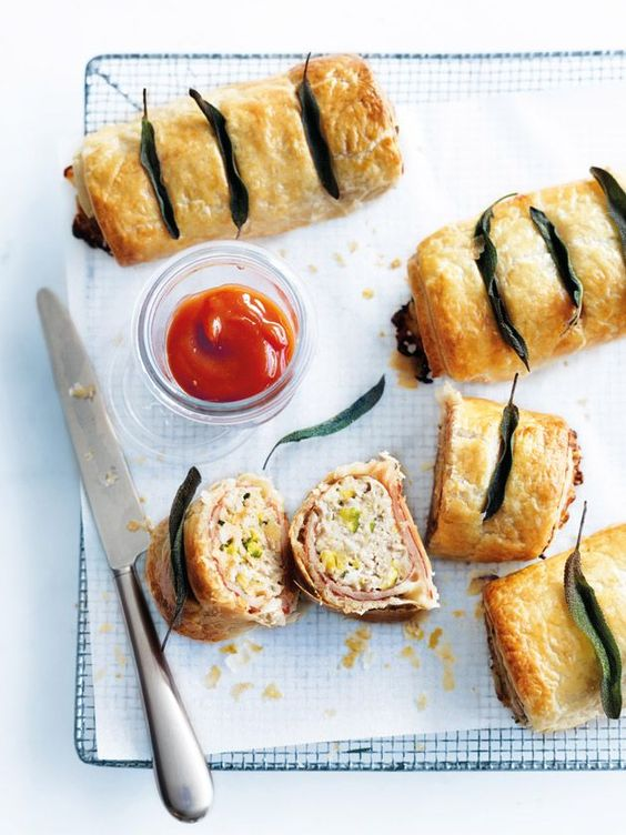 Weekend lunch or cold in lunch boxes, chicken and sage sausage rolls ...