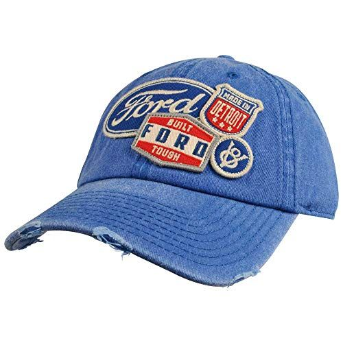 American Needle Ford Iconic Patch Distressed Dad Hat With Buckle Strap Royal Ford 1714a American Needle Distressed Hat Dad Hats Fitted Hats