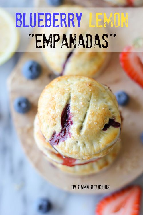 Blueberry Lemon Empanadas - Made so easily with puff pastry sheets, fresh blueberries and lemon zest!!