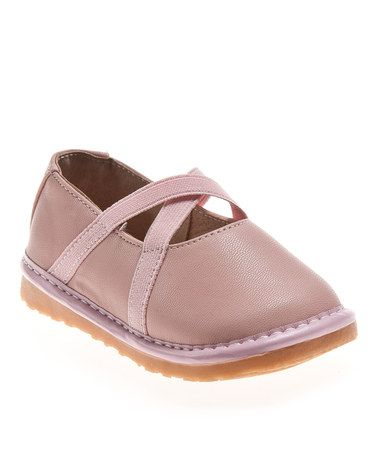 Take a look at this Pink Crisscross Squeaker Flat by littlebluelamb squeaky shoes on #zulily today!