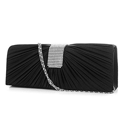 Tinksky Strass-Dekor Plissee Frontgestaltung Braut Abend Clutch Bag Prom Handtasche Handtasche Umhängetasche (Schwarz)