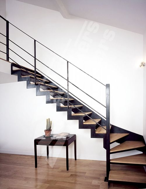 Photo dt31 escadroit 1 4 tournant bas escalier dint rieur design en m tal - Escalier bois metal design ...