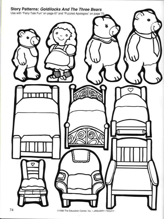 Storytime And More Goldilocks And The Three Bears Story Patterns Goldilocks And The Three Bears Bear Coloring Pages Fairy Tales
