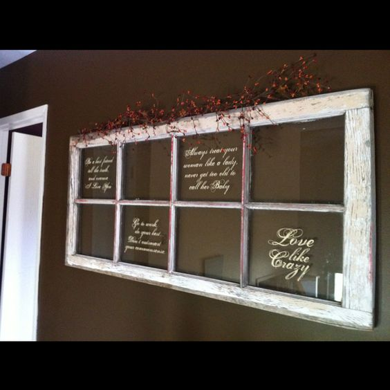 Foyer Window Quotes : Fave song quote on old window in our entryway for the