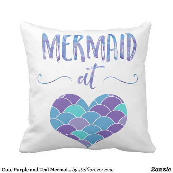 Cute Throw Pillows Pinterest : Cute Purple and Teal Mermaid at Heart Throw Pillow Nailed It - PodArtist Community Latest ...