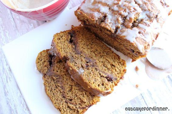 Cinnamon Swirl Pumpkin bread with Cinnamon Glaze