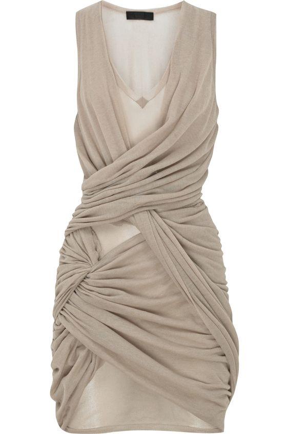 gathered wrap-over mini dress / burberry prorsum