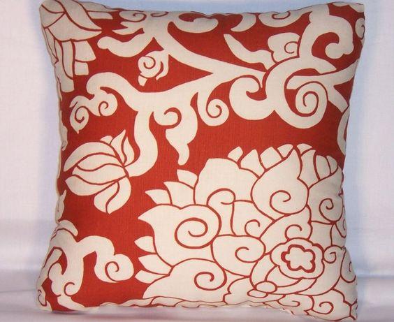 Rust Lotus Floral Throw Pillow   Thomas Paul Blossom Cinnebar