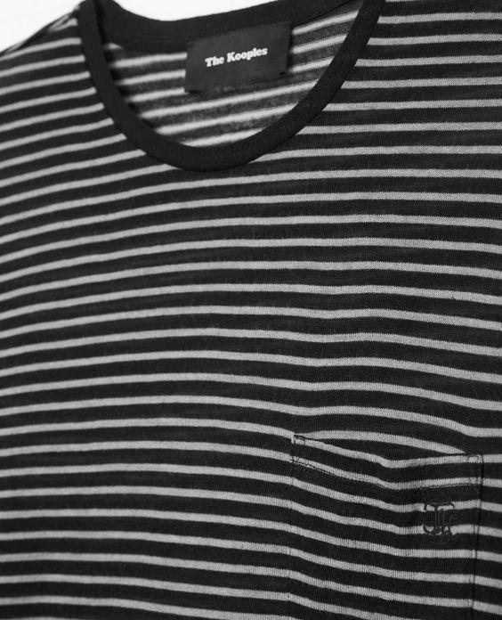 T-shirt rayé en laine à poche poitrine - THE KOOPLES