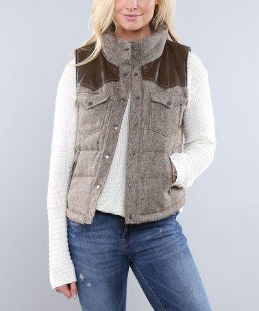 Another great find on #zulily! Brown Quilted Vest - Women #zulilyfinds