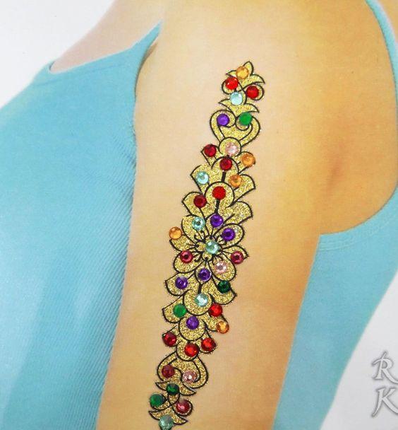 Indian Acrylkorn Multicolor Glitter Art Zurück Schulter Frauen Tattoo