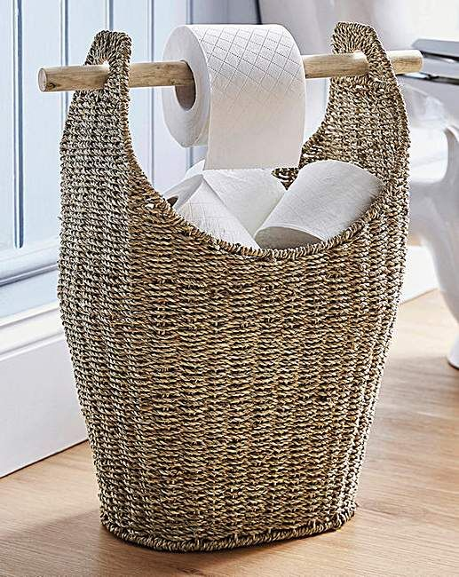 Seagrass Toilet Roll Store And Dispenser Small Bathroom Decor Toilet Roll Bathroom Organisation