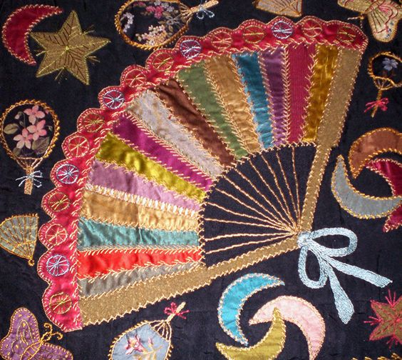 victorian quilts | Antique Victorian Crazy Quilt Love it! What is it about fans that breeds a air of mystery and fasination?