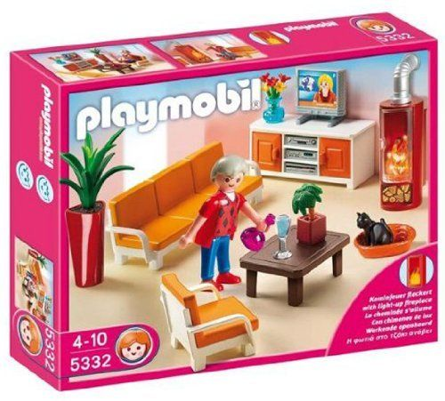 Playmobil 5332 Country Living Room by Playmobil. $24.99. open fire gutters (2 x 1,5-V-AAA Batteries required). 9.8 x 7.9 x 2 inches. With its couch, coffee table, television with stand, and fireplace that lights up, the Comfortable Living Room is a great space for the Playmobil family to relax. The set also includes a figure, kitten, and other accessories. Play with this set alone or use it to furnish the Playmobil Large Grand Mansion (5302).