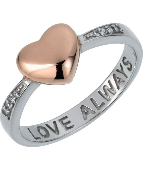 Buy Rose Gold Plated and Silver Love Always Heart Ring at Argos