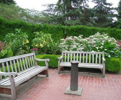 PORTLAN EEUU AMERICA NORTE.  BANCOS MADERA BARON SIMON BENSO PARA DESCANSAR  Prueba Jardines Rose Internacional de Portland en el parque de Washington