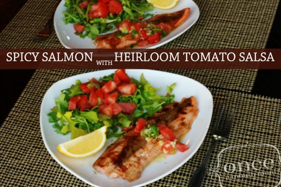 Spicy Salmon with Heirloom Tomato Salsa | Whole30 Compliant -  Once A Month Meals - Freezer Meals - Freezer Recipes - OAMM - OAMC