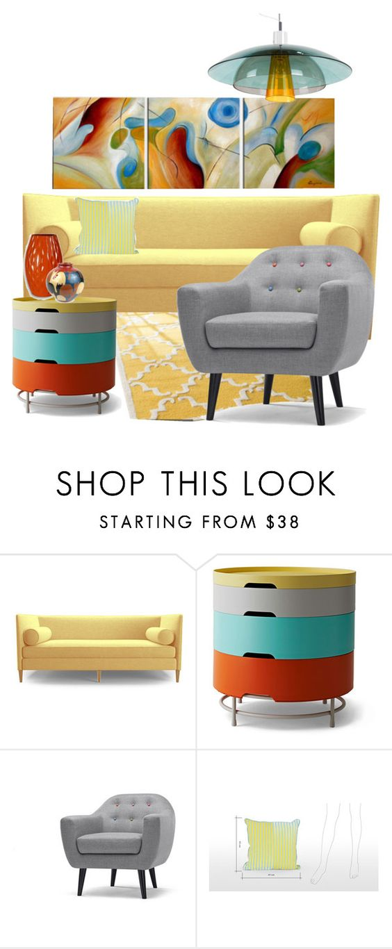 """A Little Abstract Living II"" by bigbayred ❤ liked on Polyvore featuring interior, interiors, interior design, home, home decor, interior decorating and Joybird Furniture"