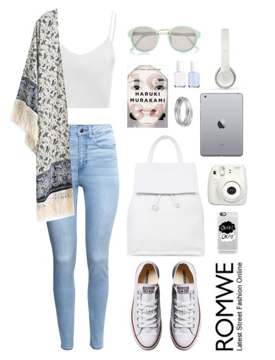 """""""Kimono and Murakami"""" by scarlett-morwenna ❤ liked on Polyvore featuring Glamorous, H&M, Converse, Topshop, Essie, Casetify, Beats by Dr. Dre, Worthington, River Island and music"""