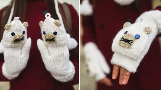 Universal and Multipurpose Knited White Bear Wrists by NatalieKnit