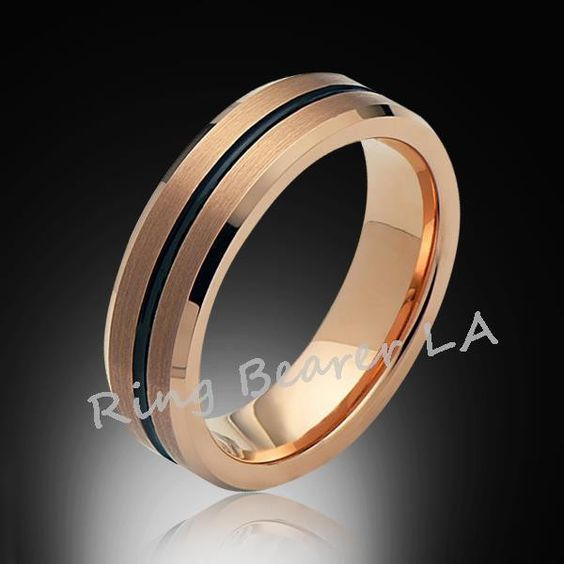 6mm,Satin Brushed,Rose Gold,Groove,Tungsten Ring,Rose Gold,Wedding Band,Comfort Fit