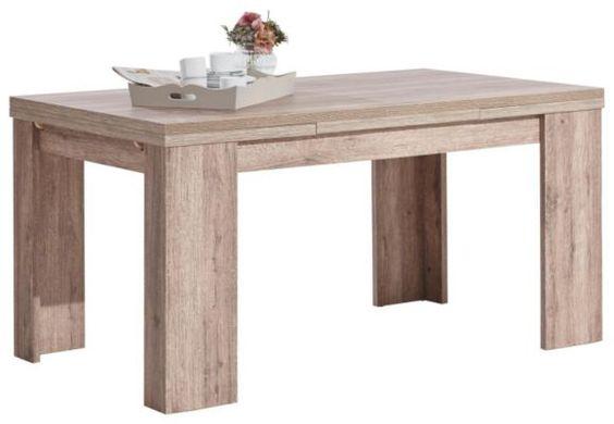 """Dieser Esstisch aus der Serie """"Palma"""" von LIV'IN sorgt für behagliches Ambiente. Die stilvolle Eiche-Nachbildung harmoniert elegant mit der Einrichtung. Dabei unterstreicht die geradlinige Form das robuste Design. Besonders praktisch: Die Tischplatte lässt sich auf eine Länge von ca. 260 cm ausziehen. An diesem Esstisch lassen Sie es sich schmecken!"""