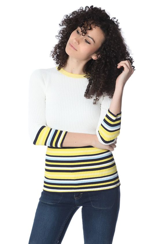 Knitted pullover in rib with stripes