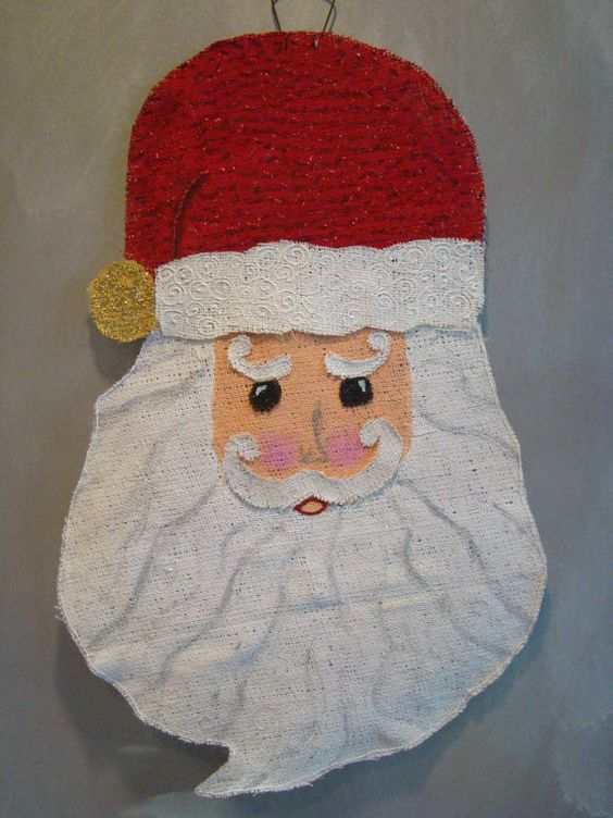 Classic Santa face hand painted burlap door/wall by robinstevens1, $40.00