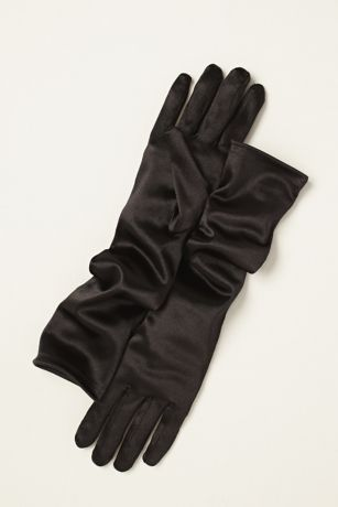 The perfect classic elbow length glove, ideal for any special event!  Classic satin elbow gloves.  Measure 15 inches in length.  Imported. 95% Nylon and5% Spandex.  One size fits most.