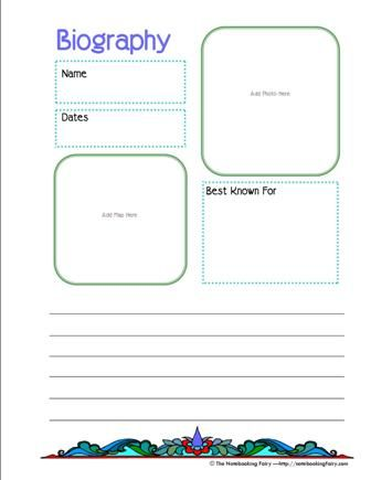 biography notebooking page - Notebooking Fairy