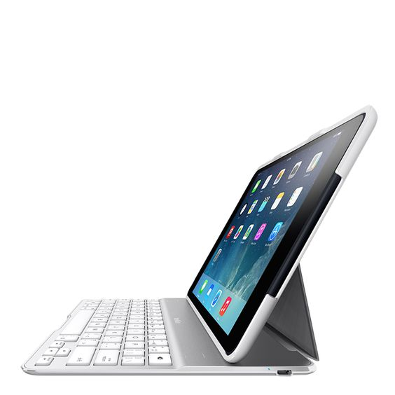 [CATALOGUE GENERAL 2015] QODE™ Etui/Clavier Ultimate Pro Premium - iPad Air 2: Performances et protection ultimes sans compromis. Etui amovible; Mode d'écriture «paysage» ou «portrait»; Compatible avec la «Smart Cover»; Clavier rétroéclairé; Etui avec clavier en alliage d'aluminium; Mise en veille automatique; Disponible en gris/noir et blanc/argent. RÉF. F5L176EDWHT http://www.exertisbanquemagnetique.fr/info-marque/belkin
