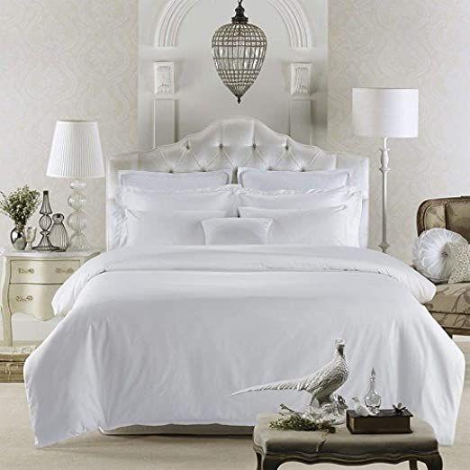 Loikhgv Duvet Covers Pure White 5star Hotel Luxury Bedding Set 60s Egyptian Cotton Silk Soft Bed Sheet Set Hotel Bedding Sets Luxury Bedding Luxury Duvet Sets