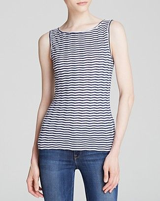 Nautical by nature, this tank buoys your spring wardrobe with its feminine fit and peppy print. Sporting a breezy boat neckline and chevron stripes in a maritime palette, this cotton-blend top pairs swimmingly with blue denim, white, or khaki for a daytime look that's equally stylish by land or by sea. #100PercentBloomies