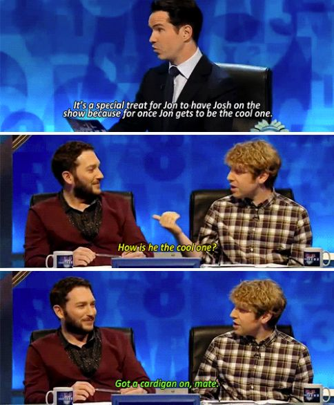 """When Jon played the cardigan card.   34 Times """"8 Out Of 10 Cats Does Countdown"""" Was Almost Too Funny"""
