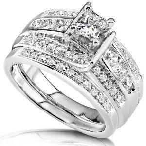1.00ctw Princess & Round Diamond Wedding Rings Set in 14Kt White Gold (HI/I1) (Jewelry) http://www.amazon.com/dp/B001GRWLIU/?tag=pindemons-20 B001GRWLIU